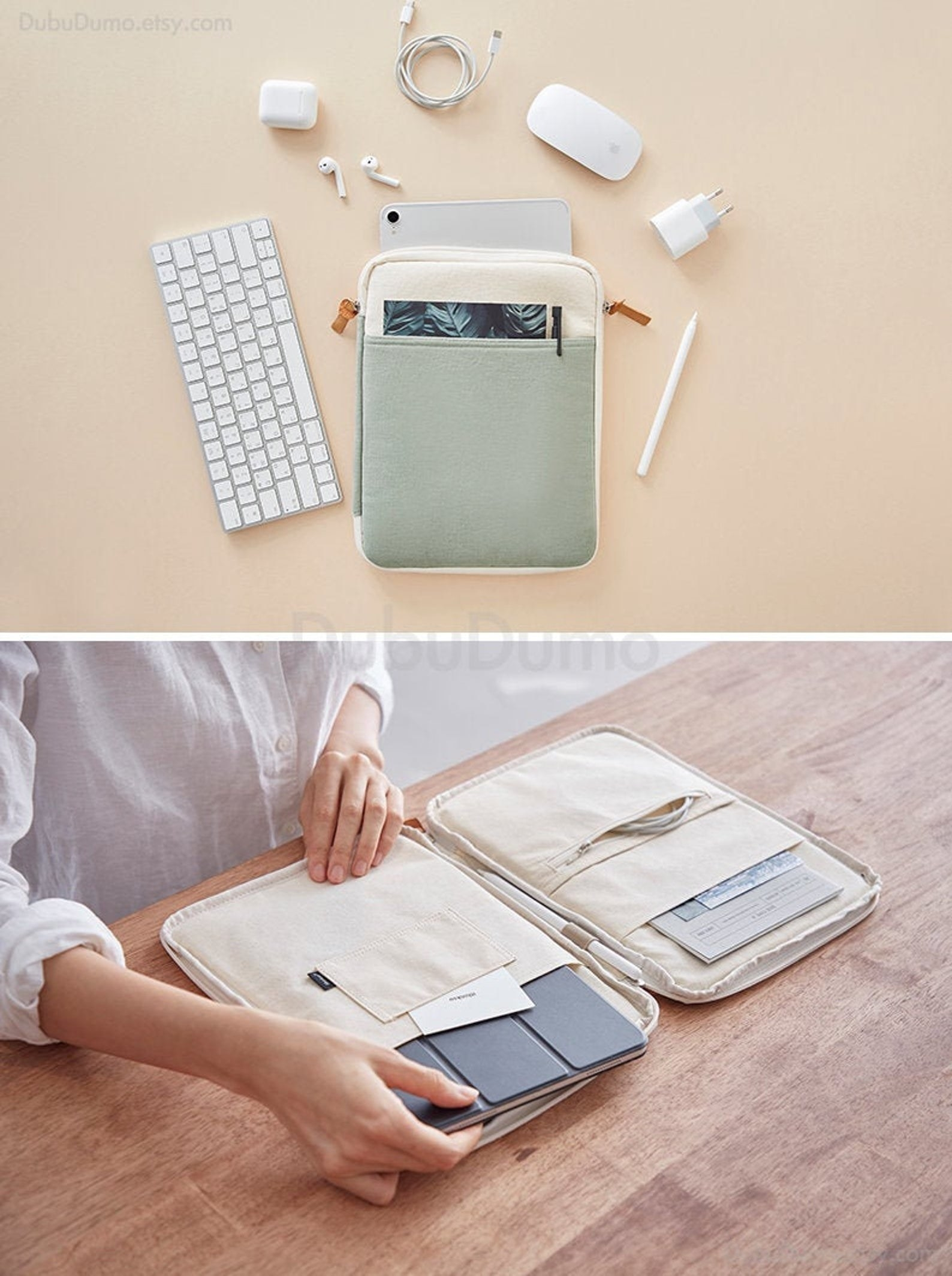 Ipad case with organization pockets for cords and notebooks