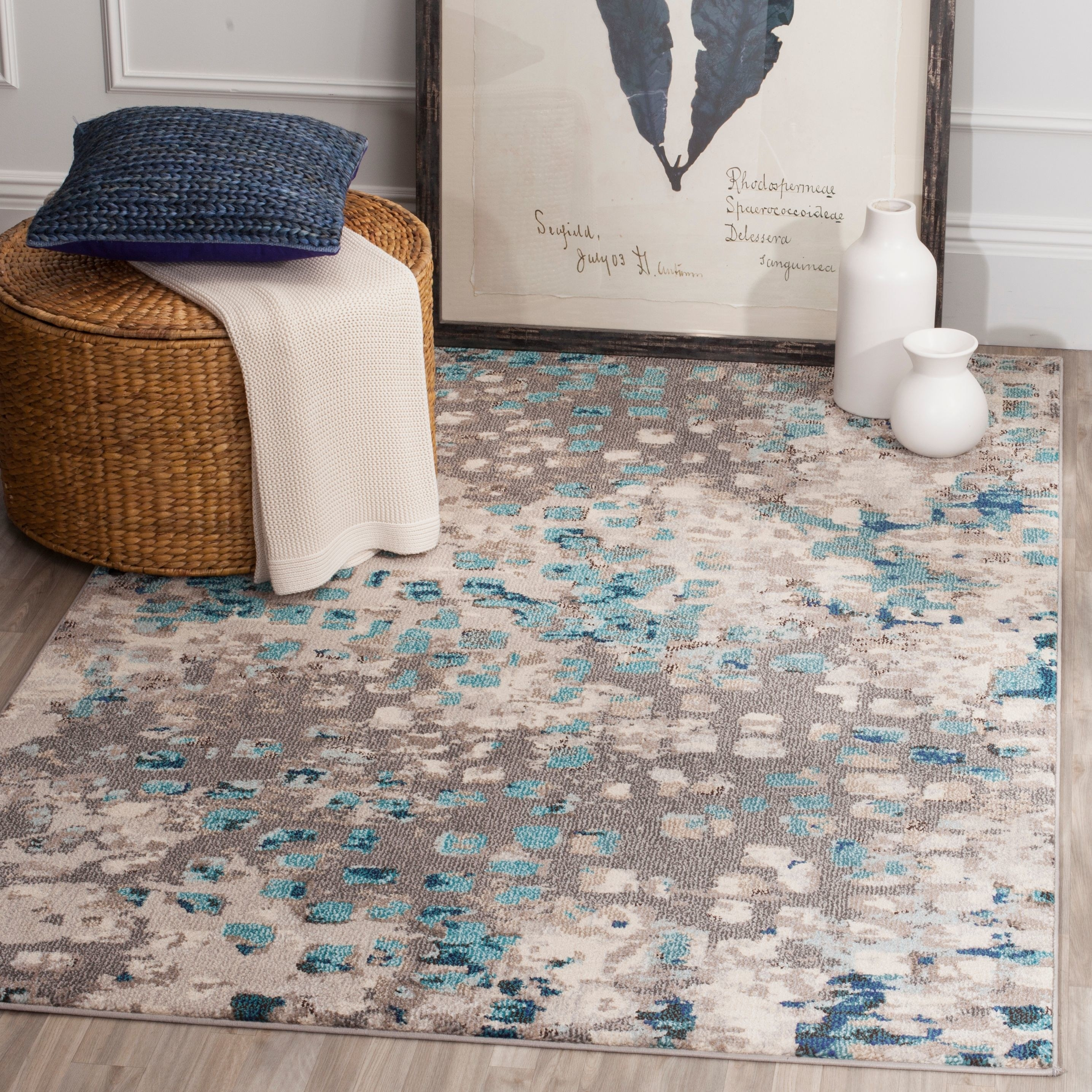 The rug in the color Grey/Light Blue
