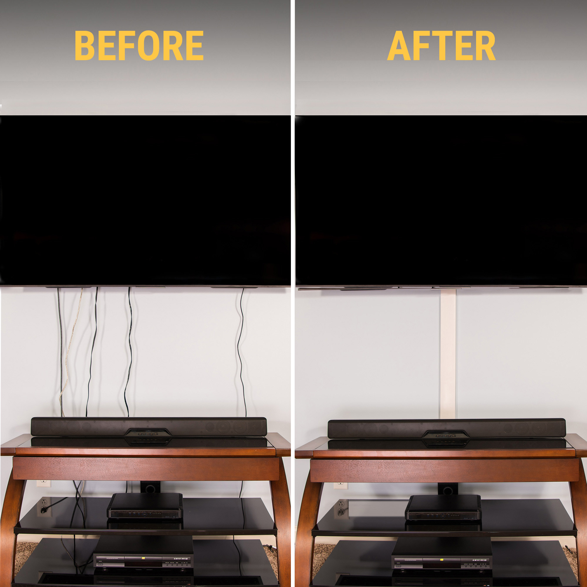 The cord concealers, before and after