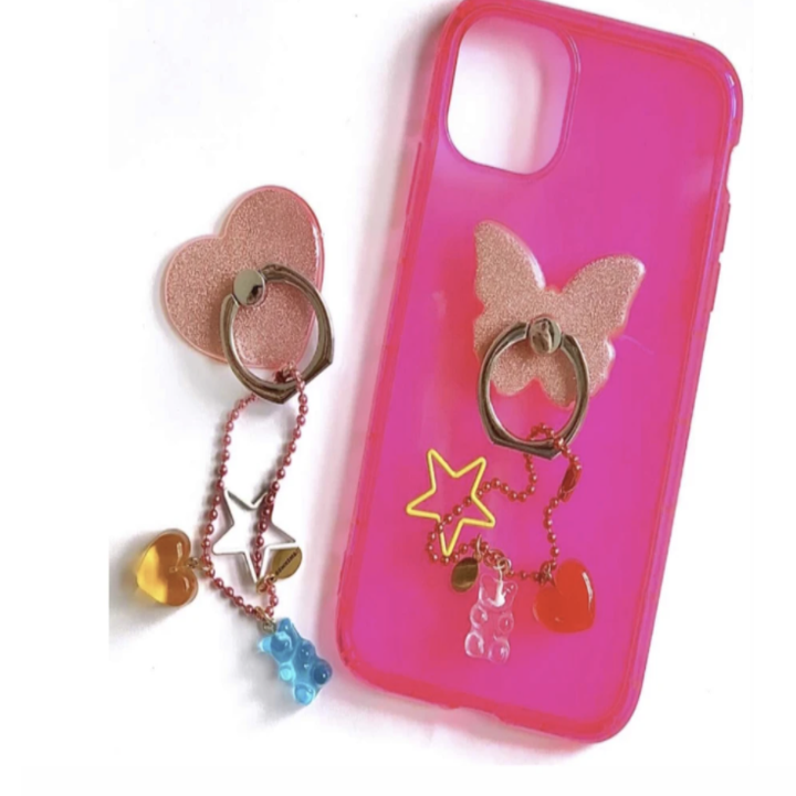 glittery heart and butterfly phone grips