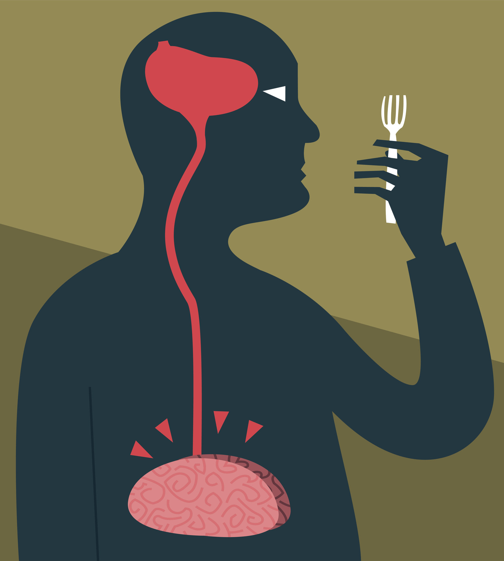 An illustration of a man staring at a fork, hungry