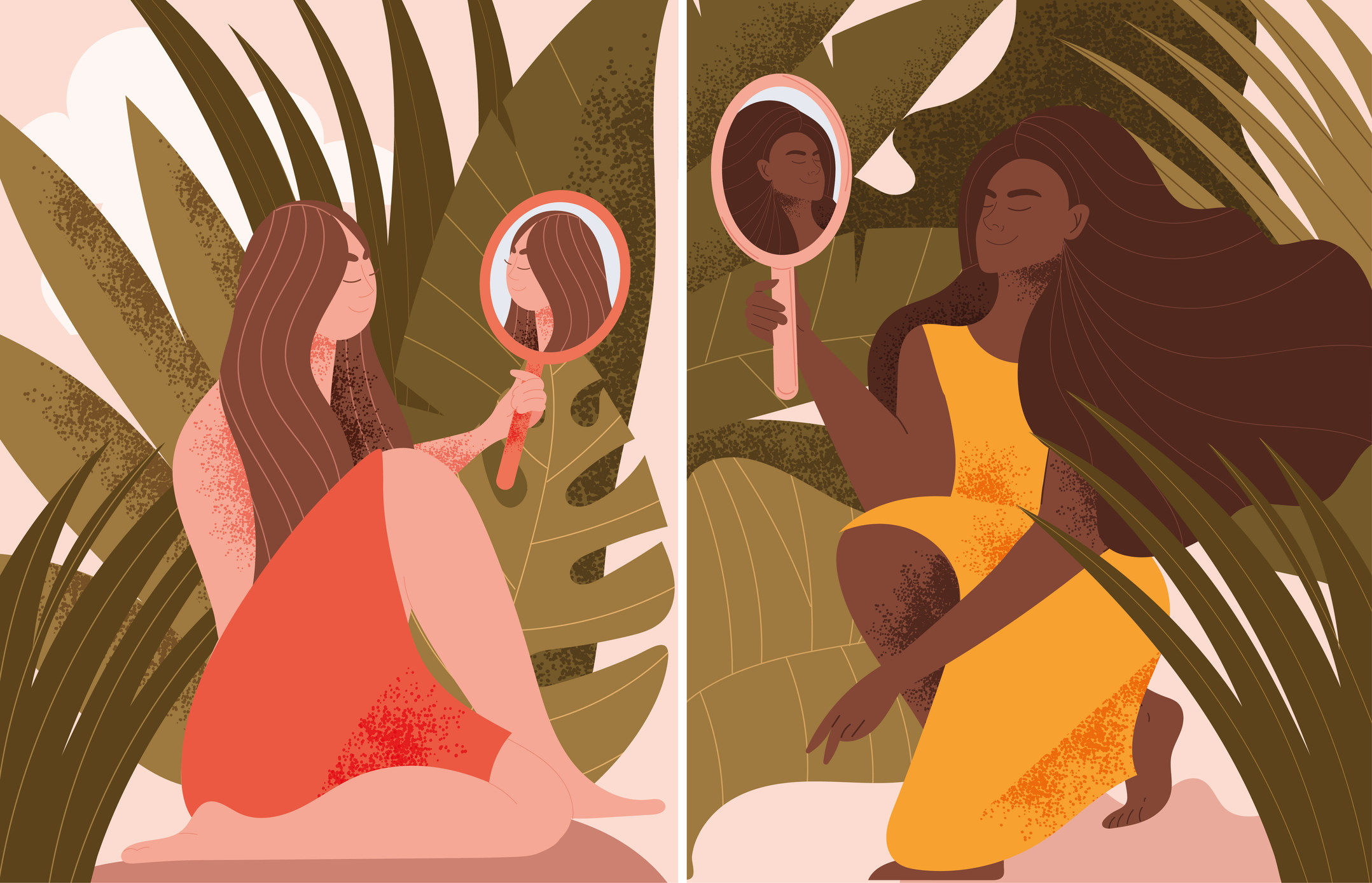 Two illustration frames of women holding mirrors in nature amongst tropical plants