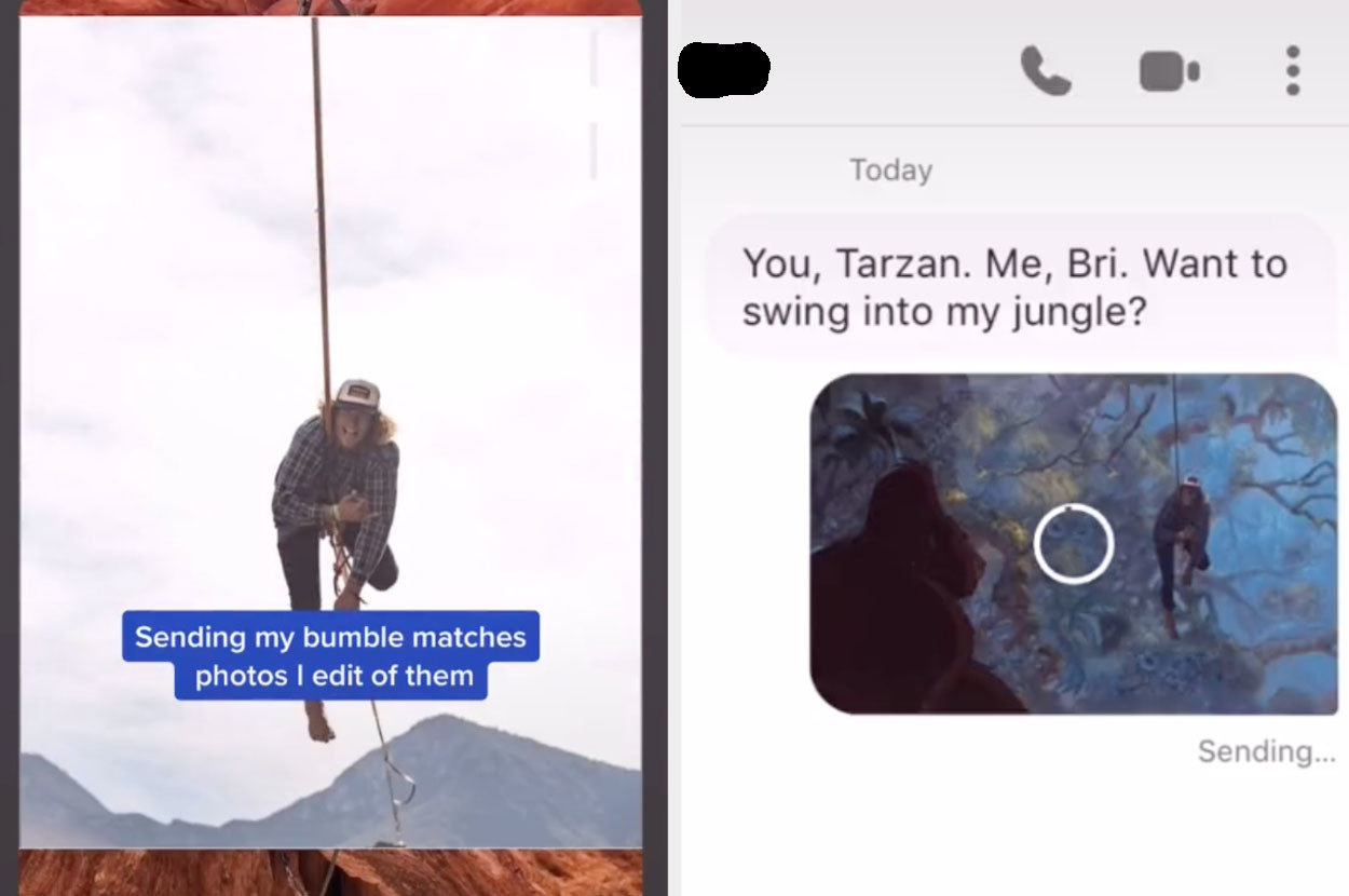 """A Bumble match swings on a rope in one photo, which is photoshopped into a """"Tarzan"""" scene with the pickup line: """"You, Tarzan, me, Bri; want to swing into my jungle?"""""""