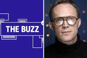 Splitscreen of purple graphic with THE BUZZ in white letters on the left side and a photo of Paul Bettany in a black turtleneck and glasses on the right side (CREDIT: GETTY)