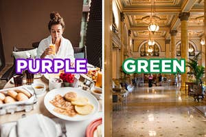 """On the left, someone eating room service in a hotel room labeled """"purple,"""" and on the right, the lobby of a luxury hotel with marble floors and columns through labeled """"green"""""""