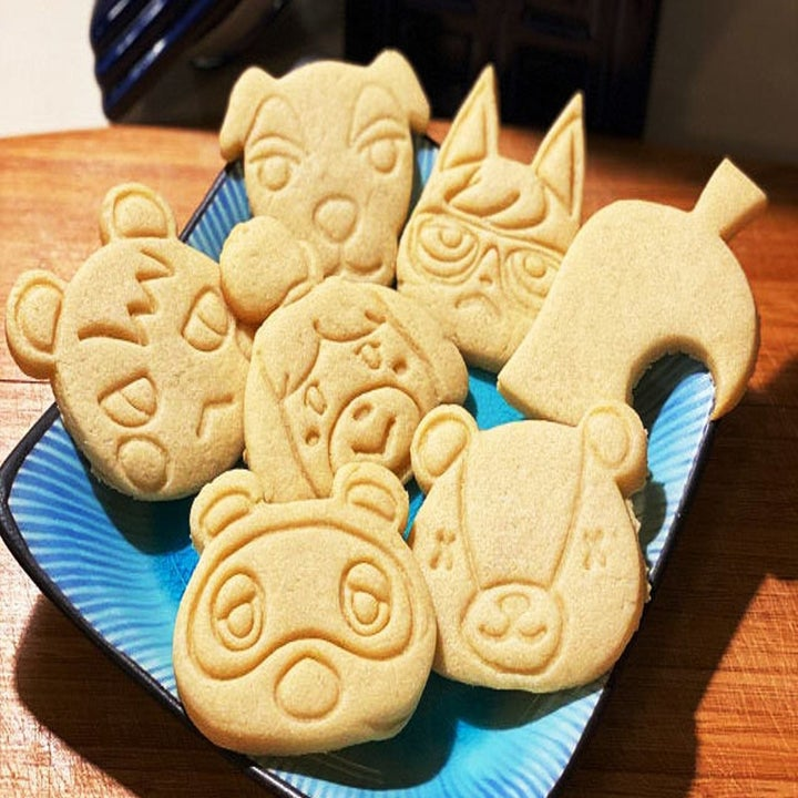 a plate of animal crossing sugar cookies