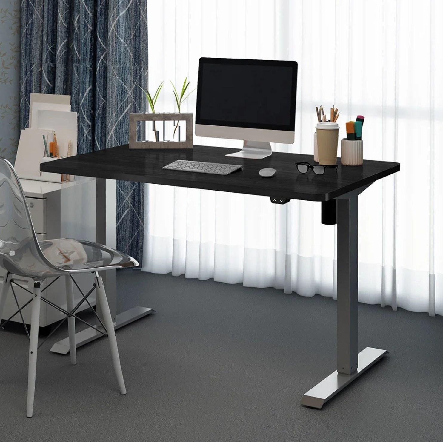 The desk in black/gray