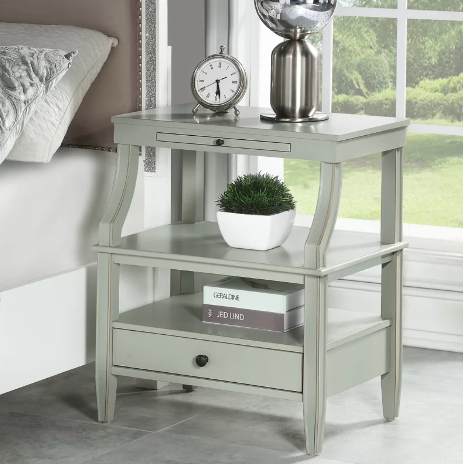The nightstand in antique gray