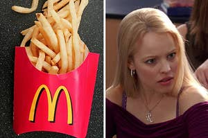 McDonald's fries on the left and Regina George on the right