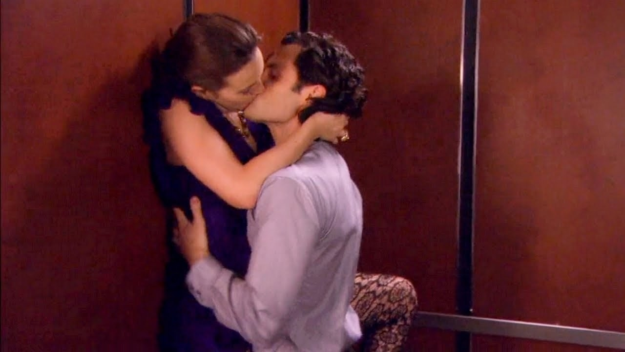 Dan lifting Blair against the side of the elevator as they kiss