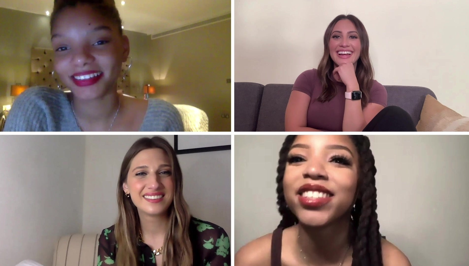 A still of Halle Bailey, Francia Raisa, Emily Arlook, and Chloe Bailey from our Who's Who video