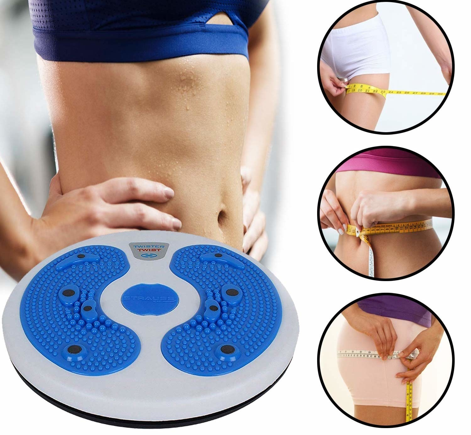 Circular gadget similar size as weighing machine, you stand and spin left and right on for a workout.