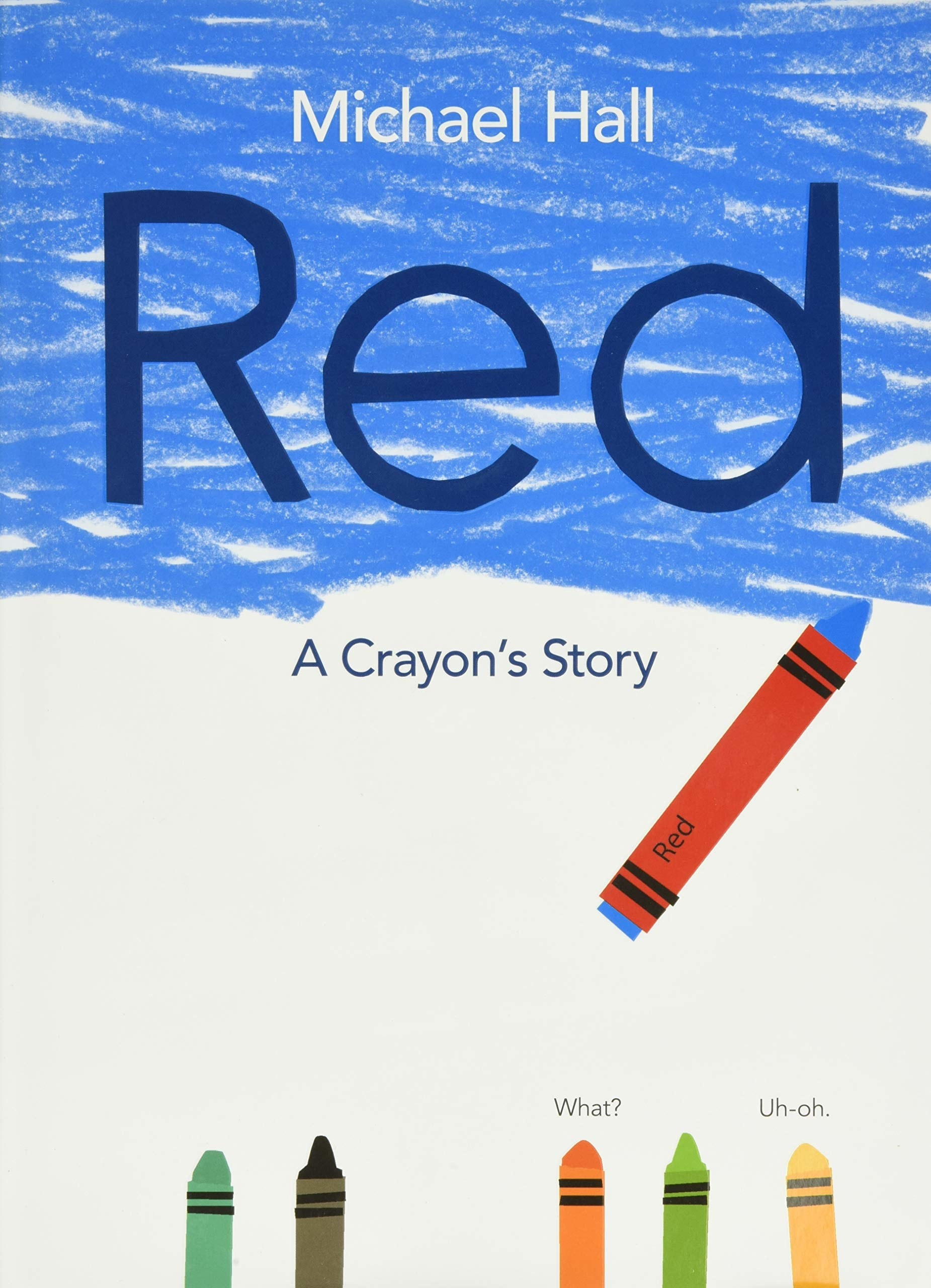 A blue crayon with a red wrapper over it