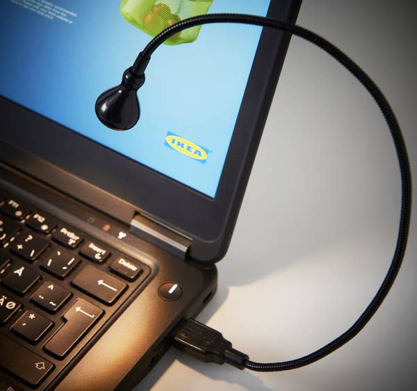 Flexible lamp that attaches to USB port of laptop.