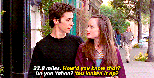 """22.8 miles"" ""How'd you know that?"" ""Do you Yahoo?"""
