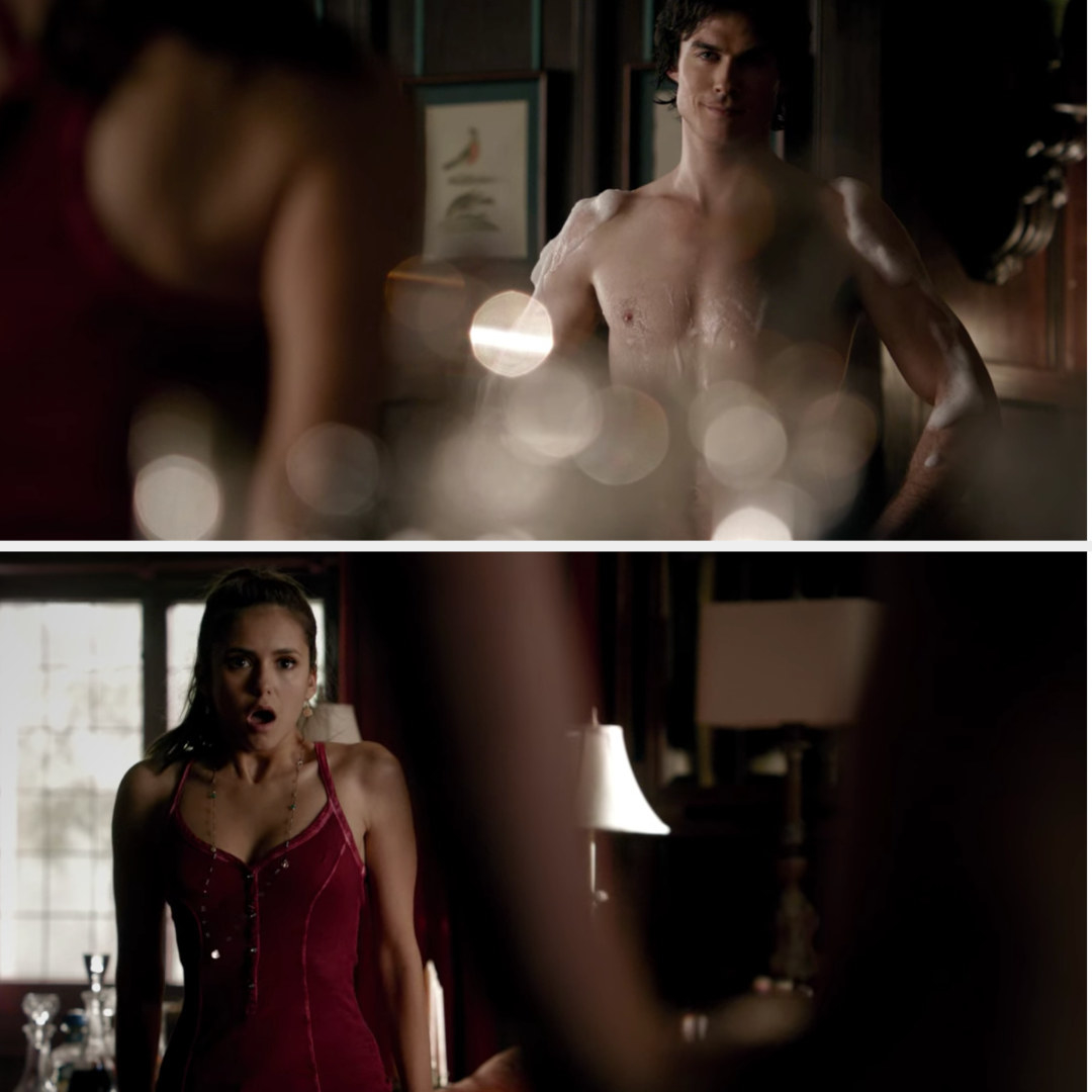 Damon stands proudly naked covered in bubbles and Elena looks shocked
