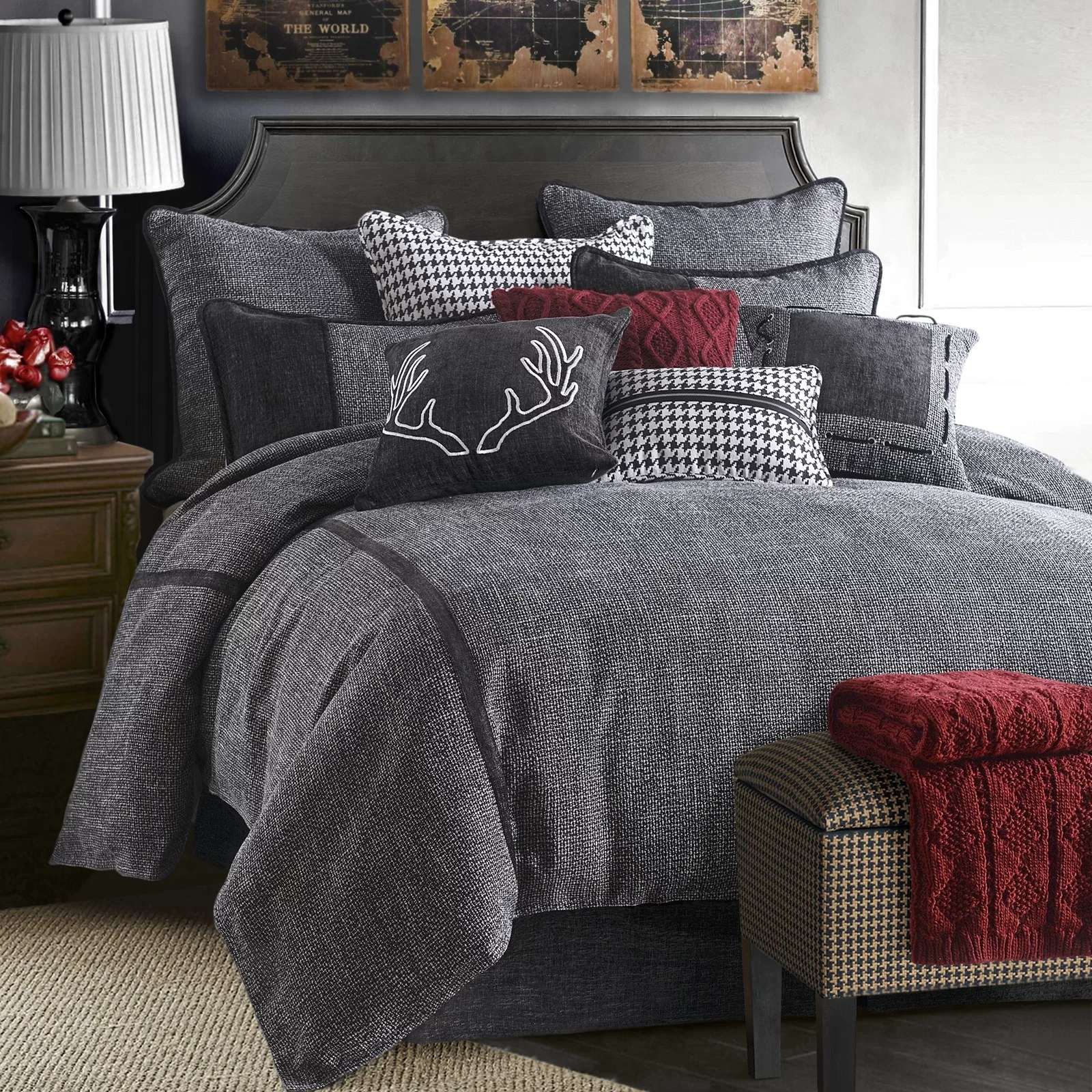 The comforter set fitted on a made bed