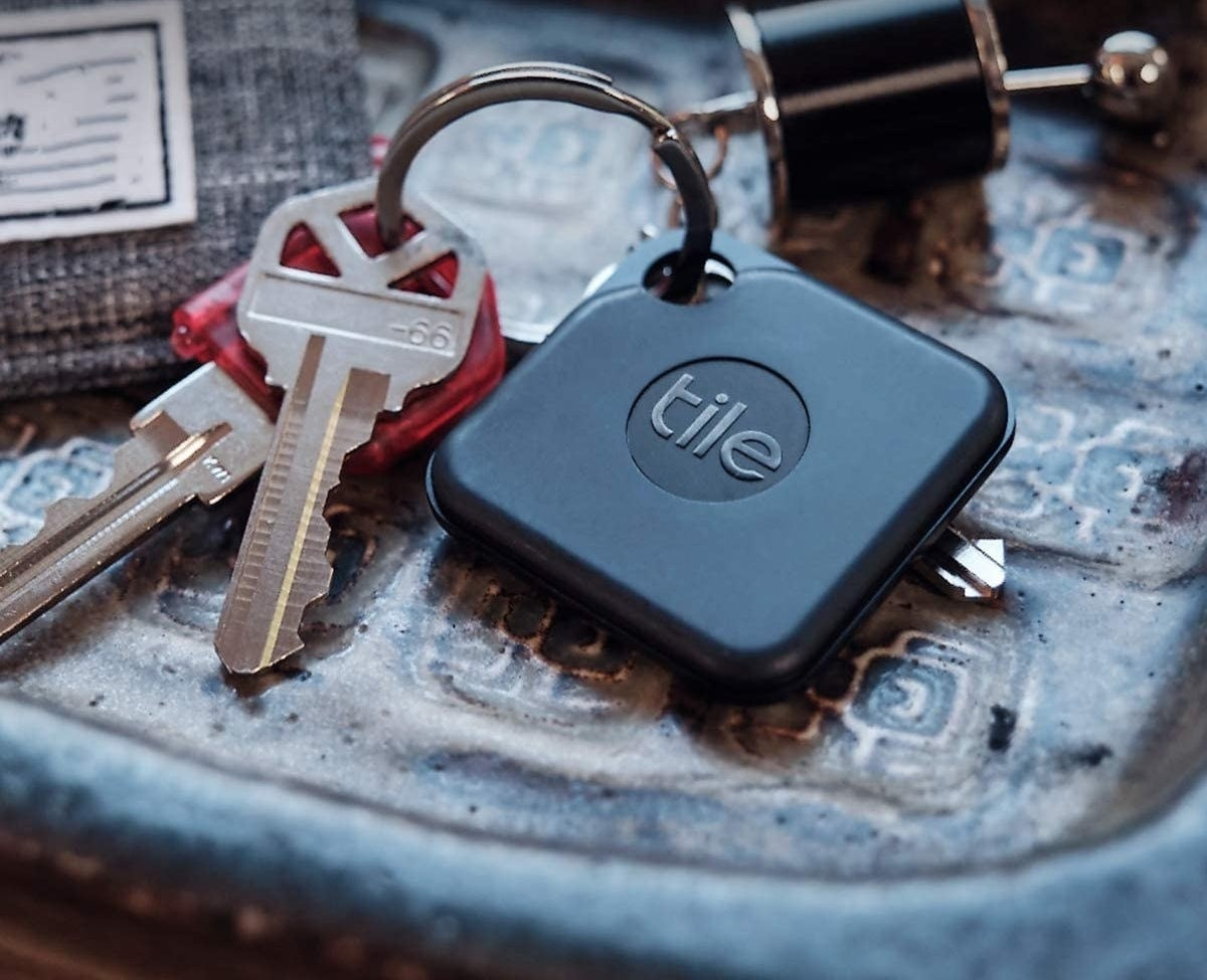 Tile tracker attached to a key chain