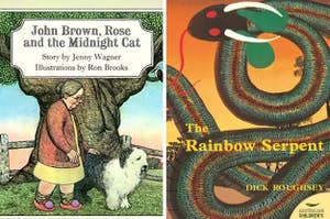 """Side by side image of two books; the first is """"John Brown, Rose and the Midnight Cat"""" showing a woman walking her dog; the second is """"The Rainbow Serpent"""" with a snake weaving across the cover"""