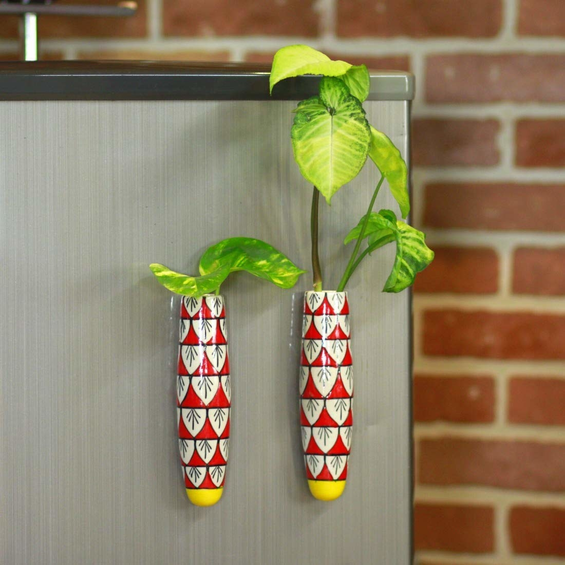 Planters attached to a cabinet.
