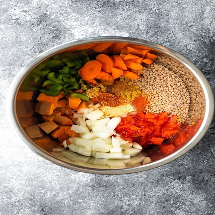 Ingredients for the lentils in an Instant Pot