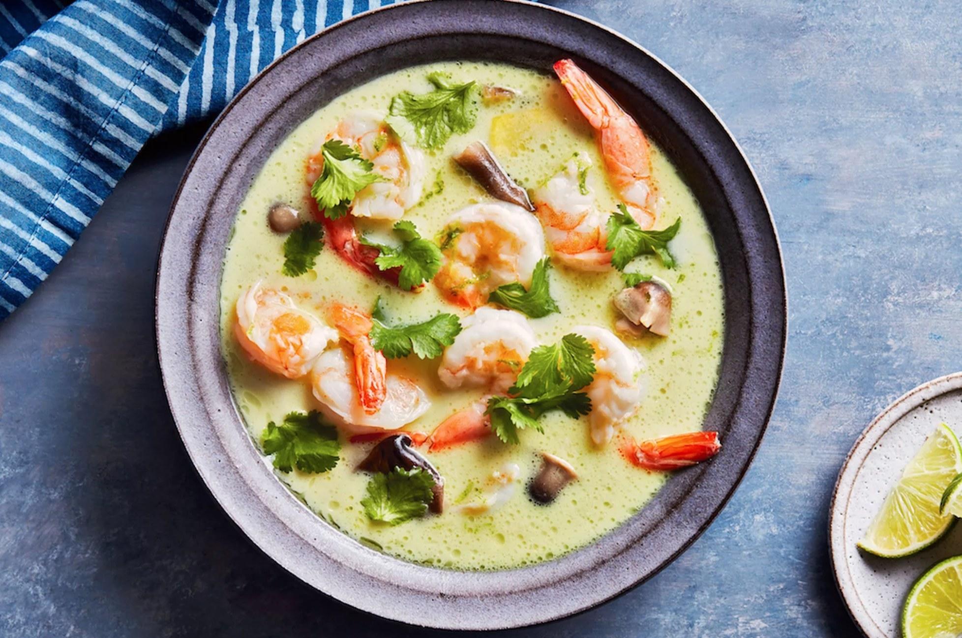 Coconut shrimp soup in a bowl