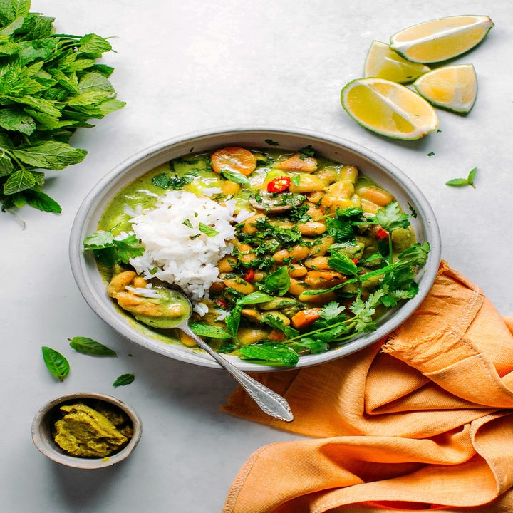 White bean green curry in a bowl