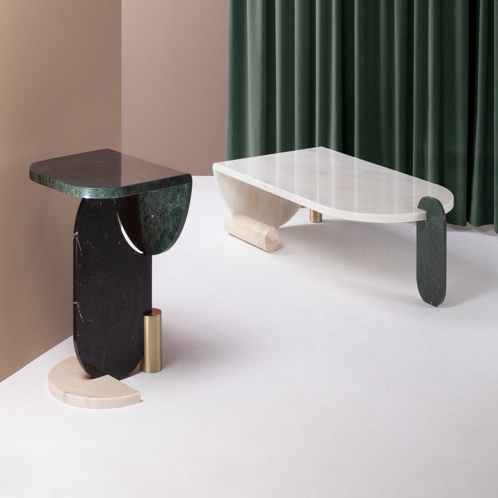 Abstract side table and coffee table with several different shapes and materials