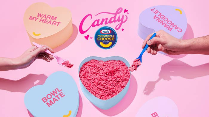 Another promo for the pink Kraft mac and cheese, featuring the mac and cheese in a candy heart-shaped box as a bowl
