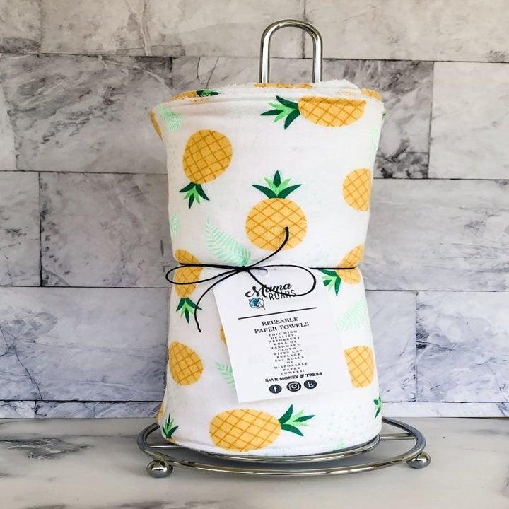 reusable paper towels in pineapple print