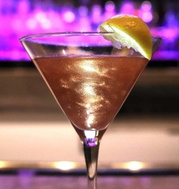 the rose glitter mixed into a martini