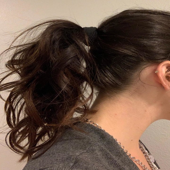Reviewer showing ponytail using burlybands