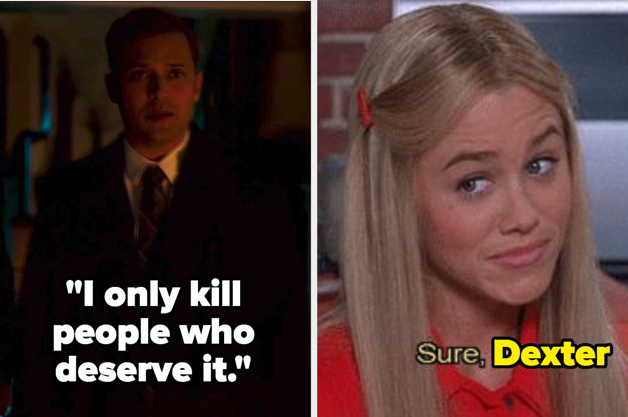 """Charles saying he only kills people who deserve it side by side with the """"sure jan"""" meme that says """"sure dexter"""""""