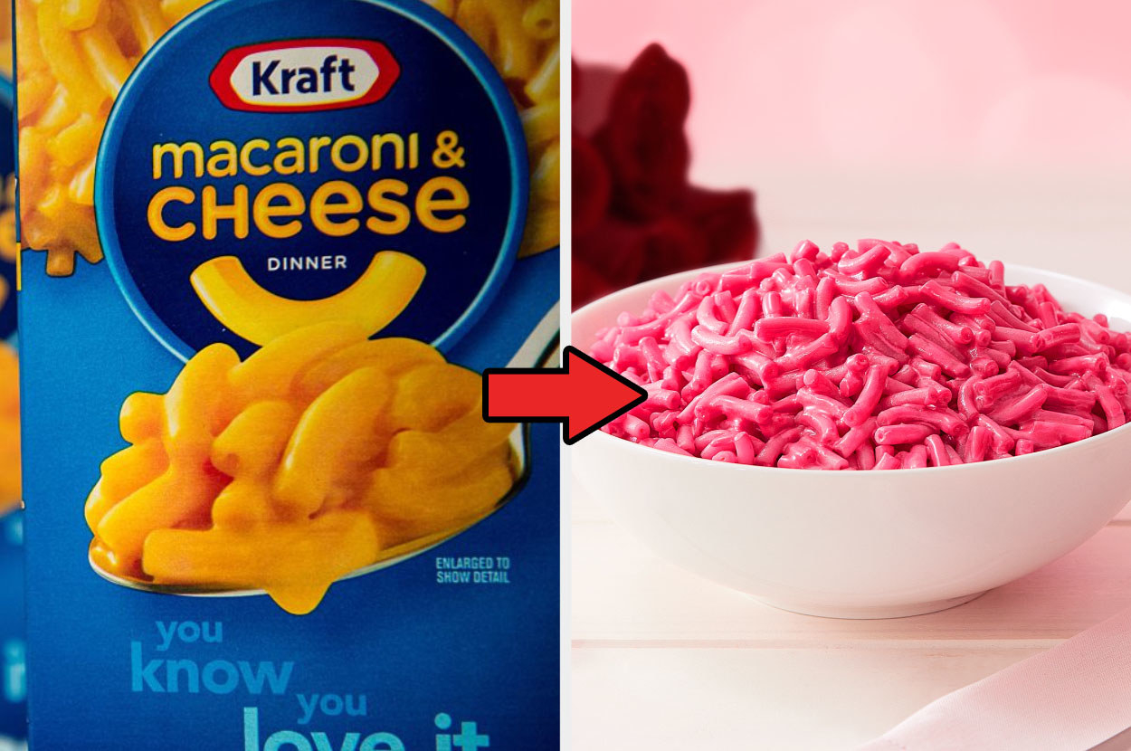 A box of original Kraft Macaroni and Cheese next to a bowl of the pink limited-edition flavor
