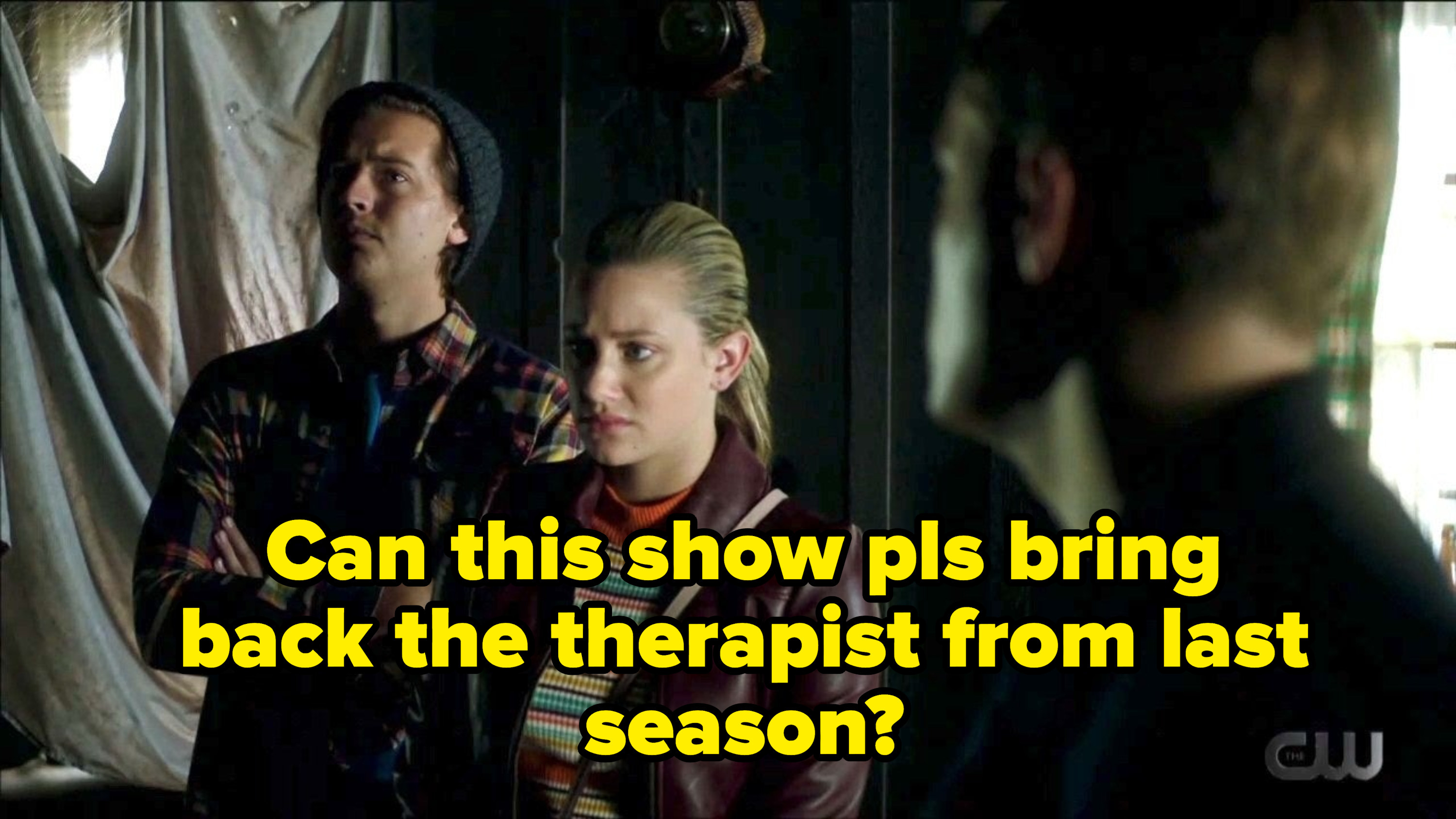 A picture of Betty and Jughead with a caption about bringing back the therapist from last season