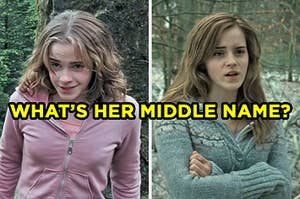 "On the left, Hermione looking ahead and raising her eyebrows in amusement, and on the right, Hermione crossing her arms over her chest labeled ""What's her middle name?"""