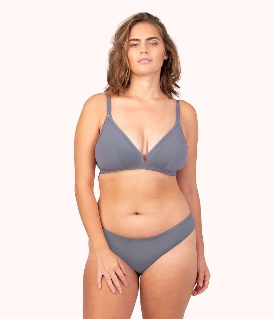 Model in a lavender gray bra with adjustable straps