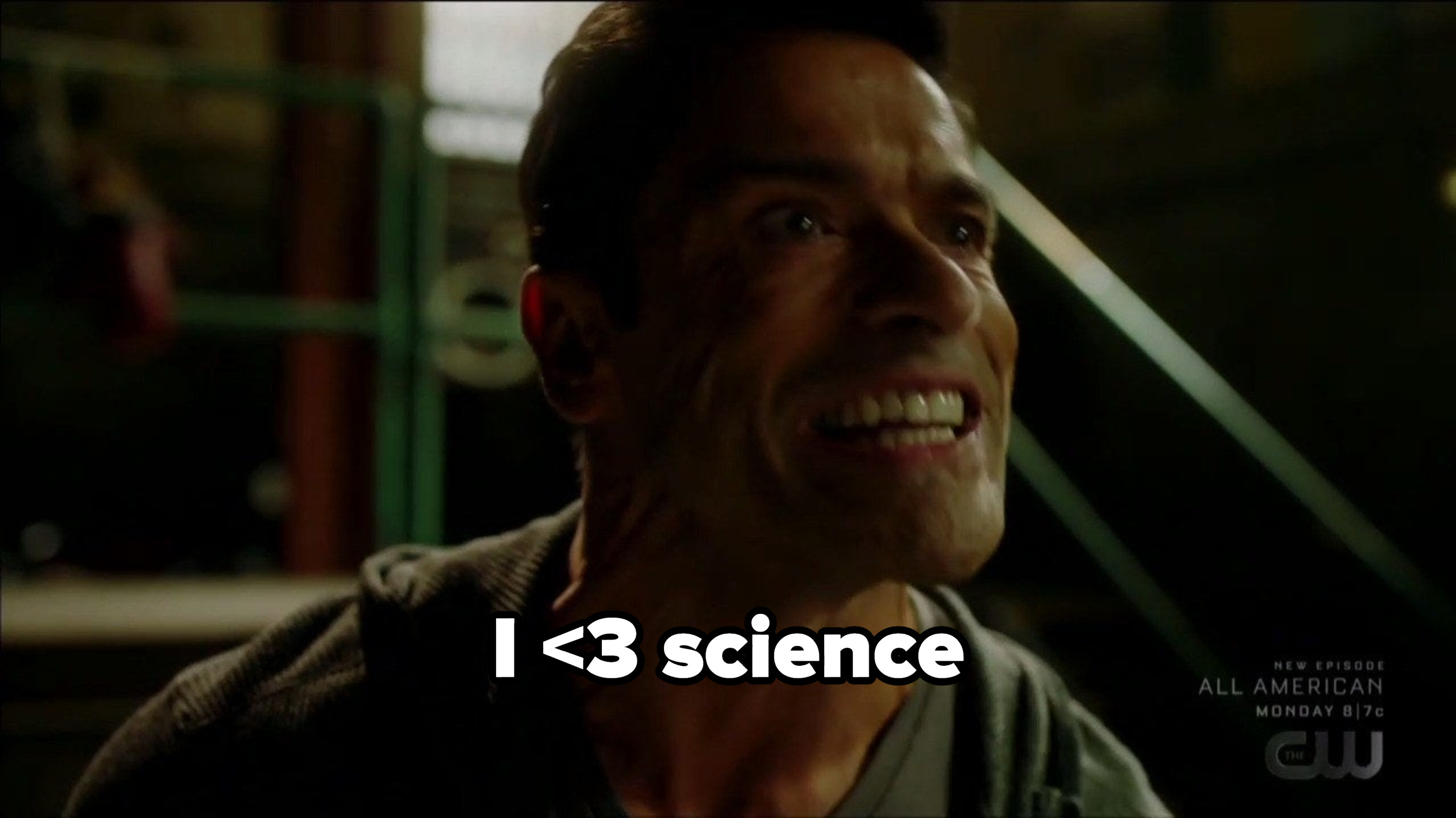 Hiram with a caption of I <3 science