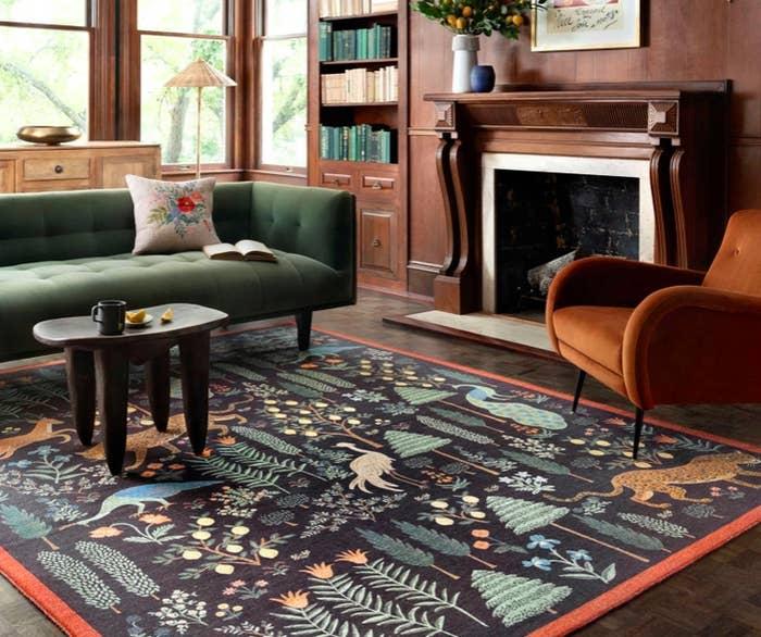 rug with trees, plants, deer, jaguars, peacocks and flowers