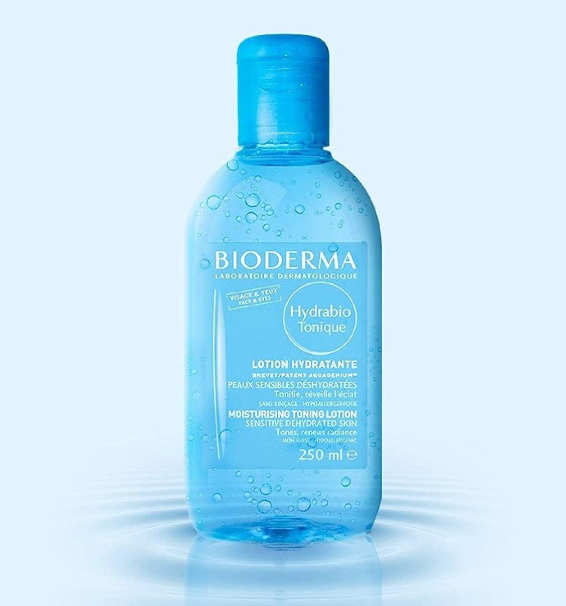 the blue bottle of toner