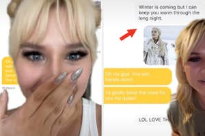 """A surprised TikToker next to her Bumble conversation where she photoshopped her match into a """"Game of Thrones"""" scene"""