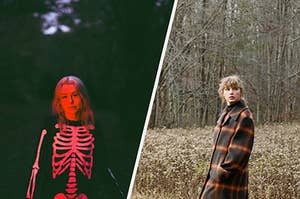 Phoebe Bridgers in the dark wearing a skeleton suit next to Taylor Swift in the woods on a cloudy day in a fall jacket