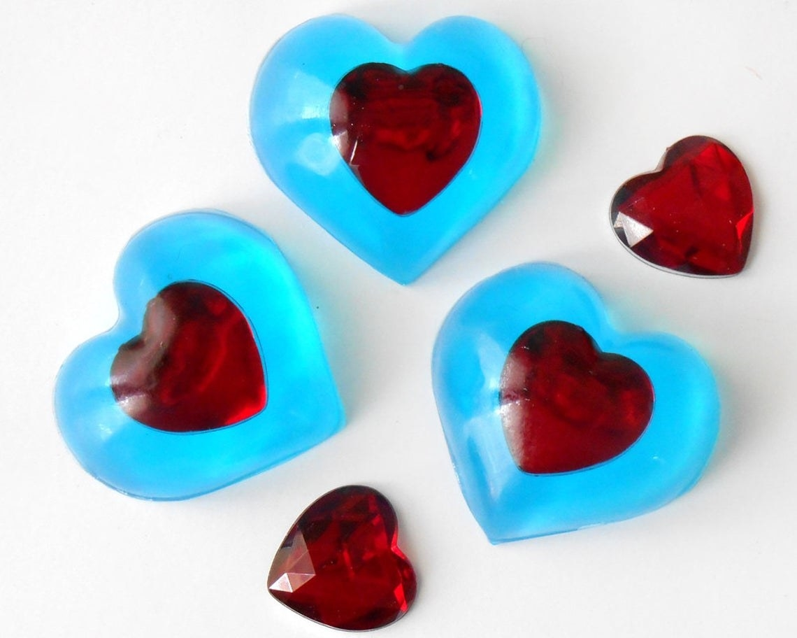 blue heart soap with red hearts in the center