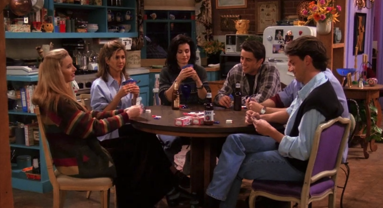 """The cast of """"Friends"""" playing poker"""