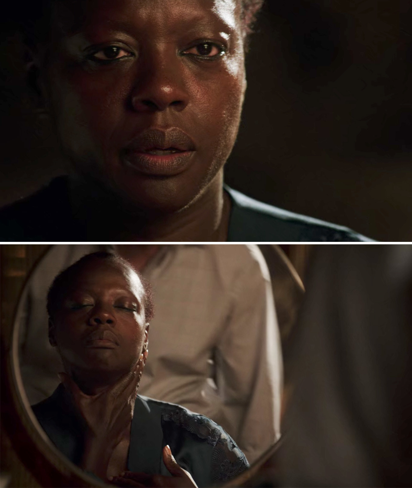 Annalise looking at the mirror and wiping her makeup off