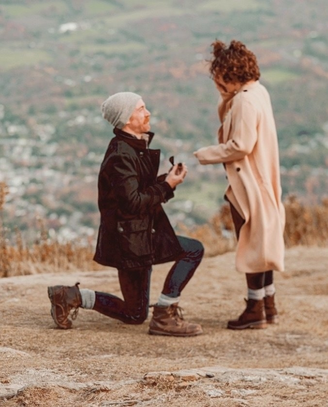 A person proposing to another person