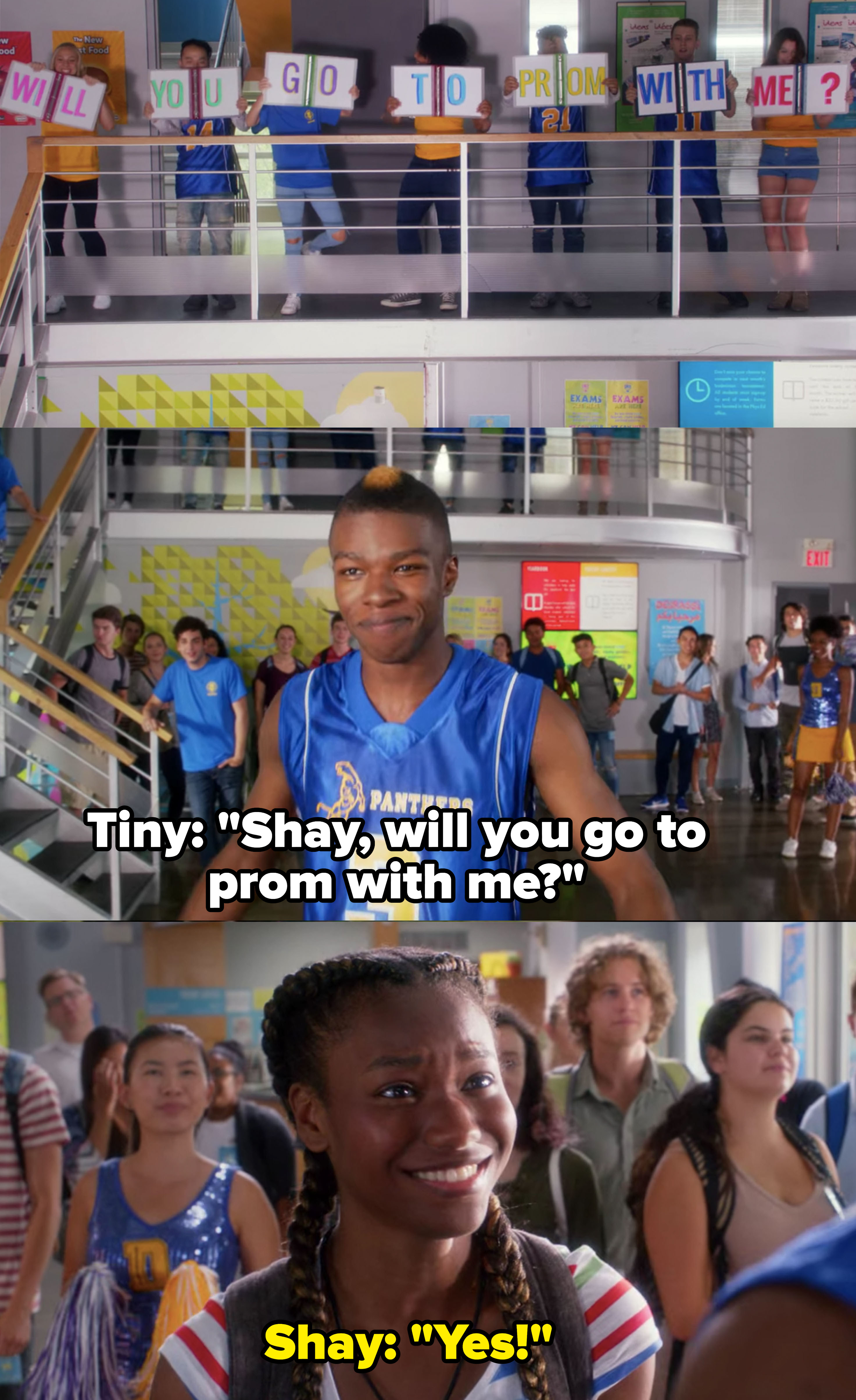 """Shay's friends hold up """"will you go to prom with me"""" signs, Tiny asks Shay, she says yes"""