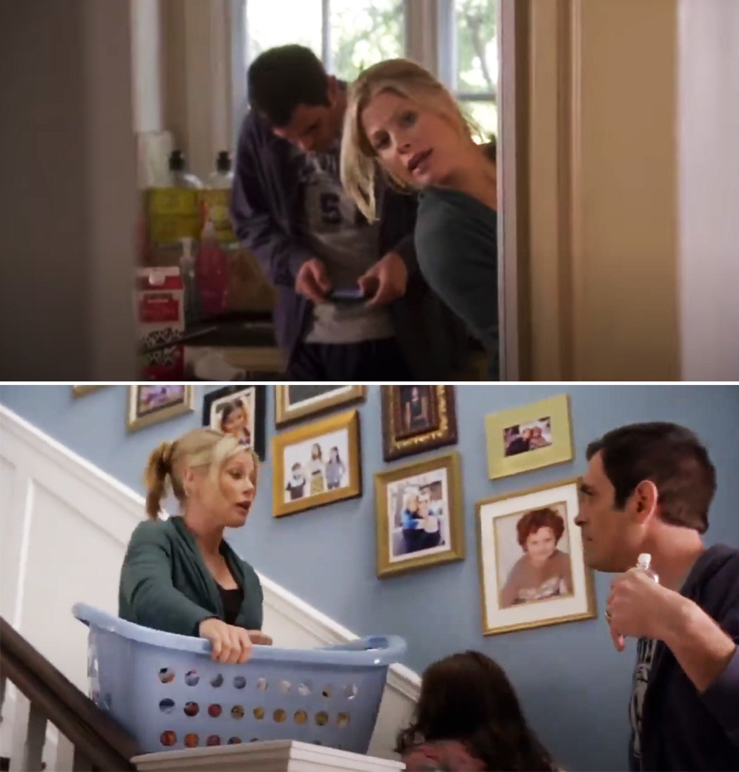 """Claire in the pilot on """"Modern Family"""" hiding behind a wall and holding a laundry basket"""