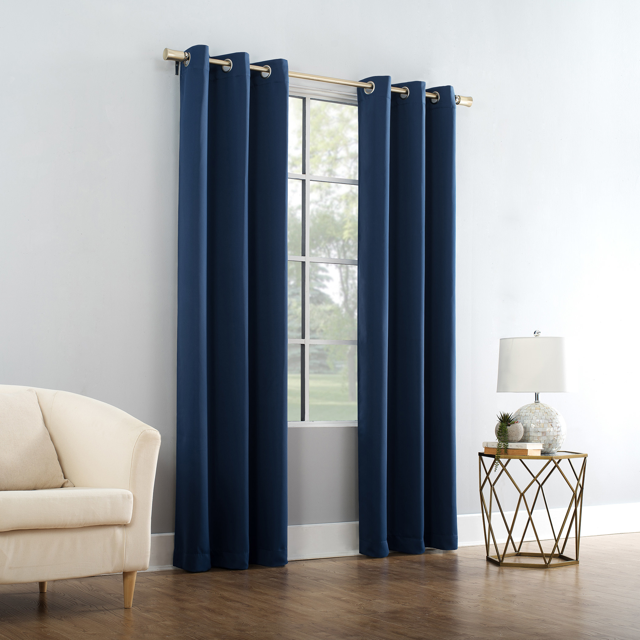 The blue curtain panel