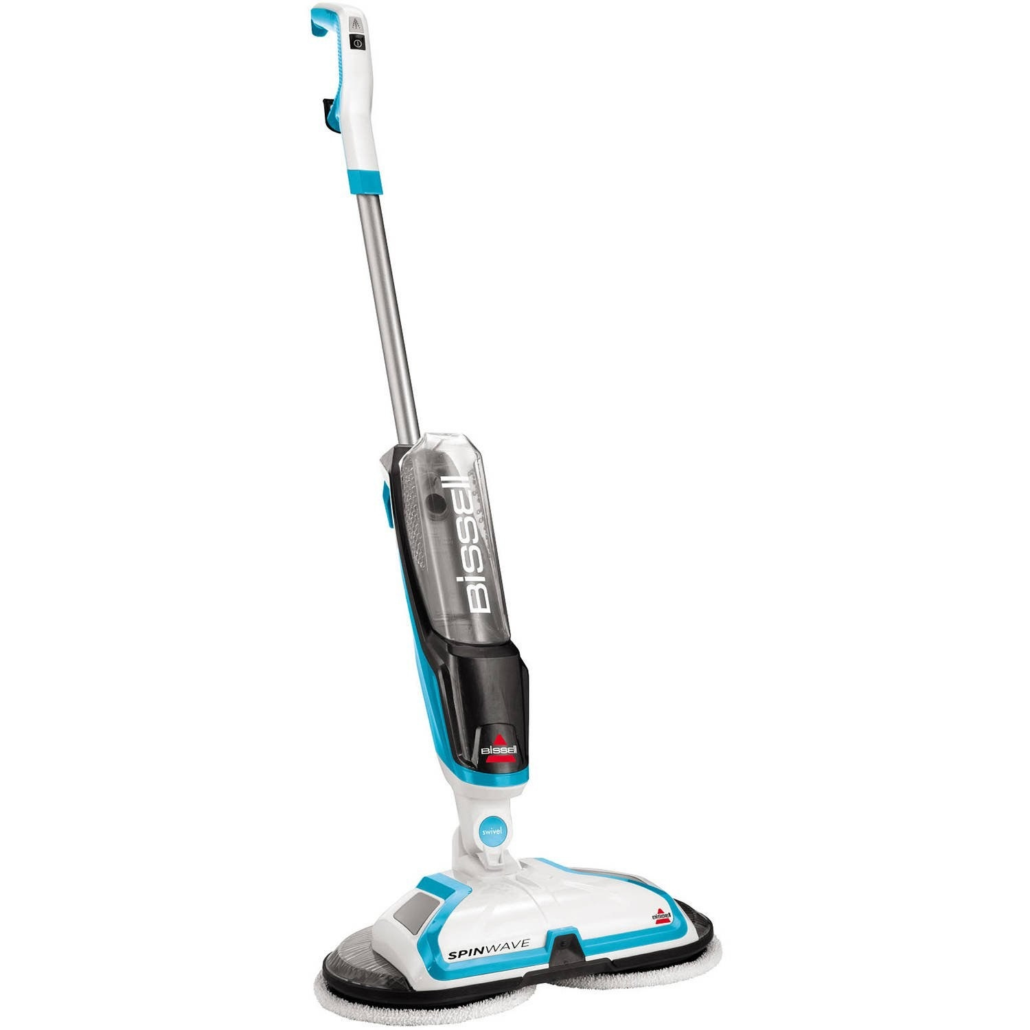 a white and blue bissell hardfloor powered mop